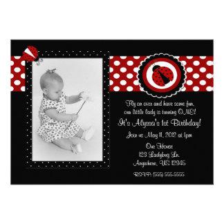 Cumpleaños Inviation de la foto de la mariquita Invitaciones Personalizada