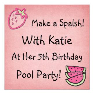 Cumpleaños Invitaiton de la fiesta en la piscina Invitaciones Personalizada