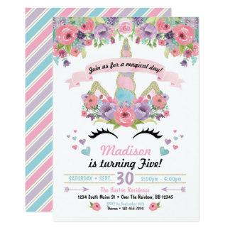 Cumpleaños Invitativitation del unicornio Invitación 12,7 X 17,8 Cm