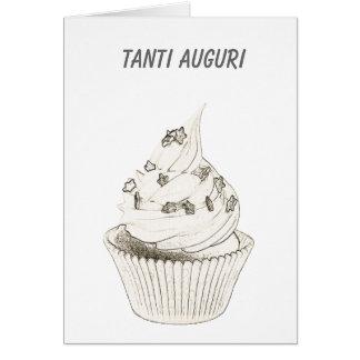 Cumpleaños italiano de la magdalena/Tanti Auguri Tarjeton