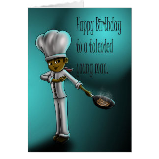 Cumpleaños joven del cocinero tarjeta de felicitación