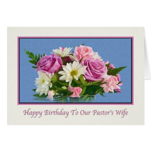 Cumpleaños, la esposa del pastor, flores, pájaros tarjetas