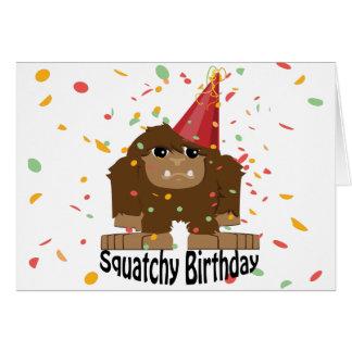 Cumpleaños lindo Bigfoot de Squatchy Tarjeta Pequeña