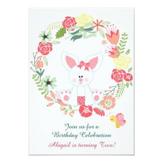 Cumpleaños lindo de la guirnalda del conejito y de invitación 12,7 x 17,8 cm