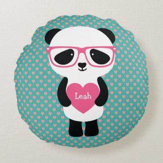 Cumpleaños lindo de la panda cojín redondo