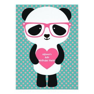 Cumpleaños lindo de la panda invitación 13,9 x 19,0 cm