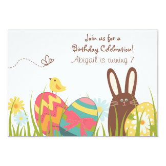 Cumpleaños lindo de la primavera del conejo de invitación 12,7 x 17,8 cm