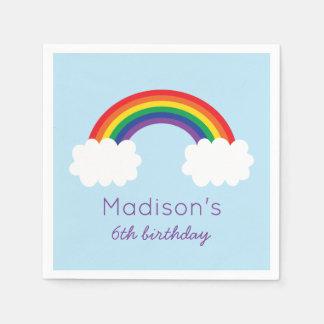 Cumpleaños lindo del arco iris servilleta desechable