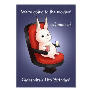 cumpleaños lindo del conejito en el cine invitación 12,7 x 17,8 cm