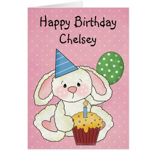 Cumpleaños lindo del conejito tarjeta
