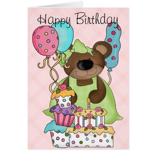 Cumpleaños lindo del oso tarjeton
