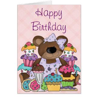 Cumpleaños lindo del oso felicitación