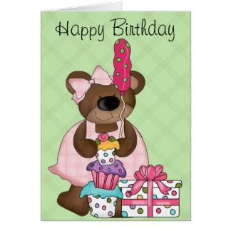 Cumpleaños lindo del oso felicitaciones