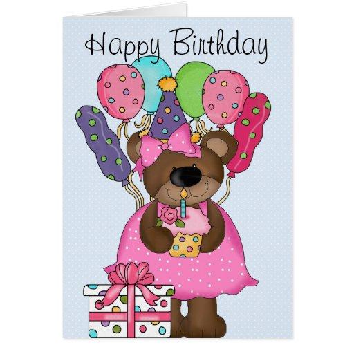 Cumpleaños lindo del oso felicitacion
