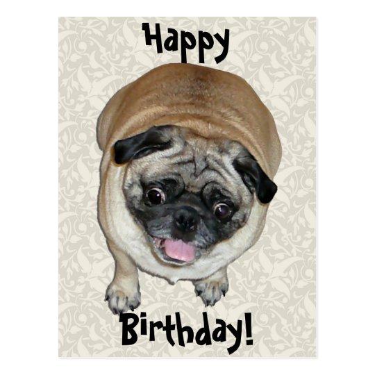 Cumpleaños lindo del perro del barro amasado postal