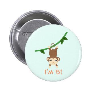 Cumpleaños lindo del safari chapa redonda 5 cm