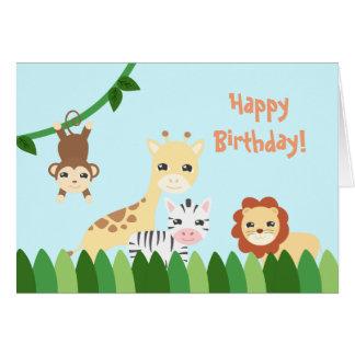 Cumpleaños lindo del safari tarjeta de felicitación