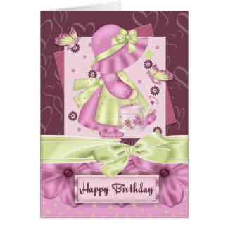 Cumpleaños lindo Gre de la flor y de la mariposa Tarjeta De Felicitación