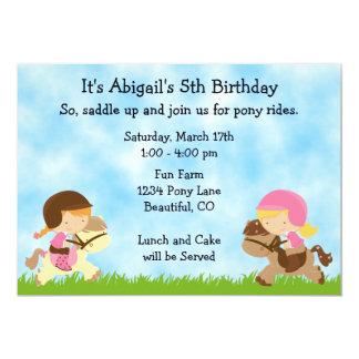 Cumpleaños lindo personalizado del caballo de las invitación 12,7 x 17,8 cm