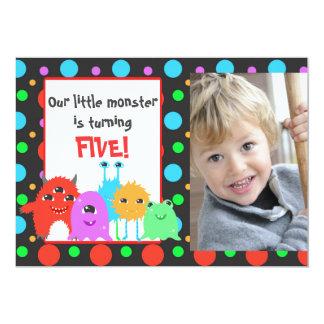 Cumpleaños lindo personalizado del monstruo de la invitación 12,7 x 17,8 cm
