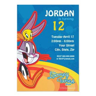 Cumpleaños Looney de la demostración de los tonos Invitación 12,7 X 17,8 Cm