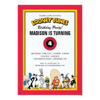 Cumpleaños Looney del grupo el   del carácter de Invitación 12,7 X 17,8 Cm