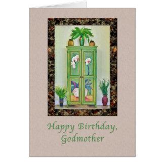 Cumpleaños, madrina, aún vida con el gabinete tarjeta de felicitación