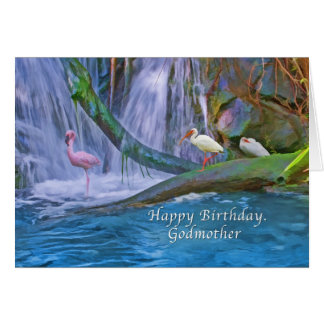 Cumpleaños, madrina, cascada tropical, pájaros tarjeta de felicitación