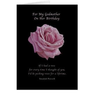 Cumpleaños, madrina, color de rosa rosado en negro tarjetón