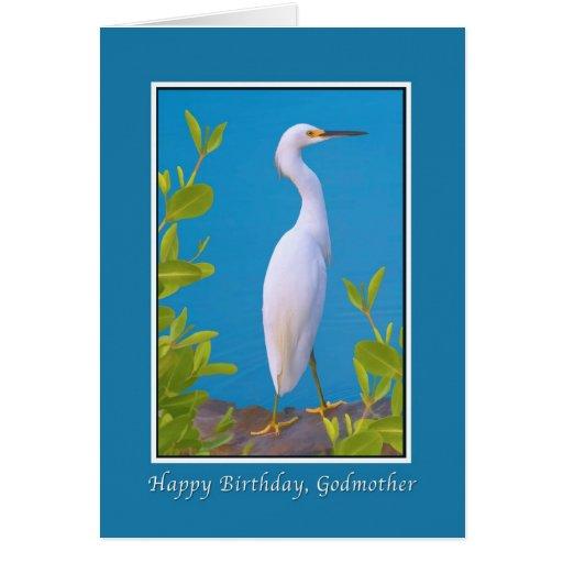 Cumpleaños, madrina, Egret nevado Tarjetón