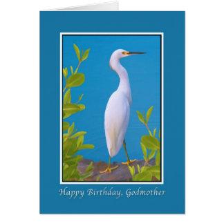 Cumpleaños, madrina, Egret nevado Tarjeta De Felicitación