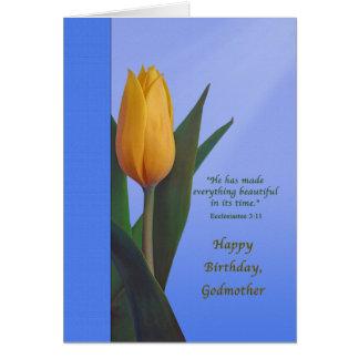 Cumpleaños, madrina, flor de oro del tulipán felicitacion