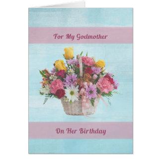 Cumpleaños, madrina, flores coloridas en una cesta tarjeta de felicitación