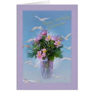 Cumpleaños, madrina, flores y pájaros tarjeta de felicitación