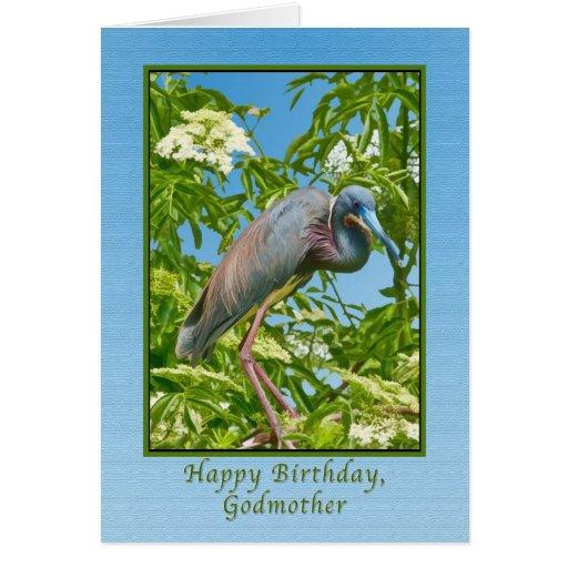 Cumpleaños, madrina, garza de Tricolored en un árb Felicitacion