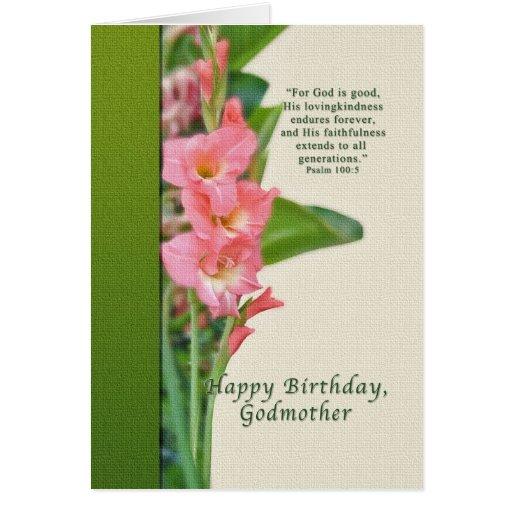 Cumpleaños, madrina, gladiolo rosado tarjeton