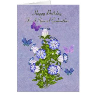 Cumpleaños, madrina, mariposas y flores de Bell Tarjeta De Felicitación