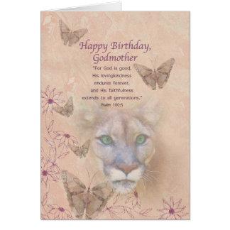 Cumpleaños, madrina, puma y mariposas tarjeta de felicitación