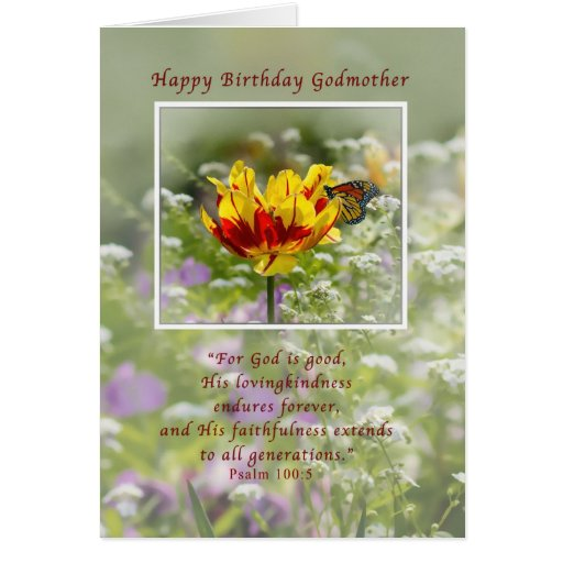 Cumpleaños, madrina, religiosa, mariposa tarjeta