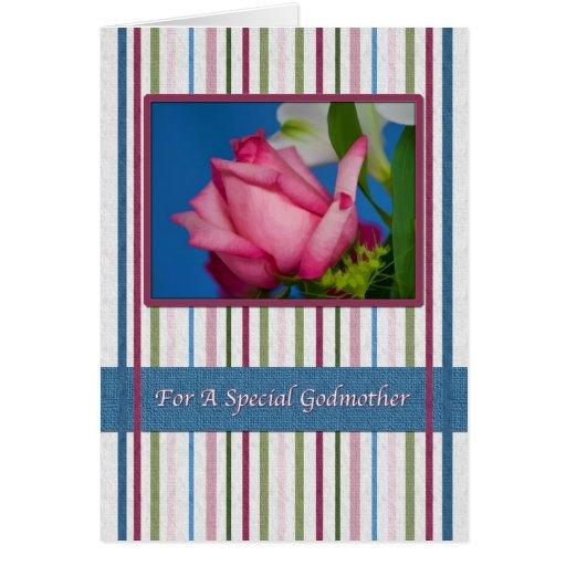 Cumpleaños, madrina, rosa rojo, rayas felicitacion