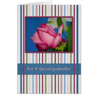 Cumpleaños, madrina, rosa rojo, rayas tarjeta de felicitación