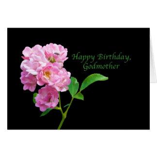 Cumpleaños, madrina, rosas rosados del jardín en tarjeta de felicitación