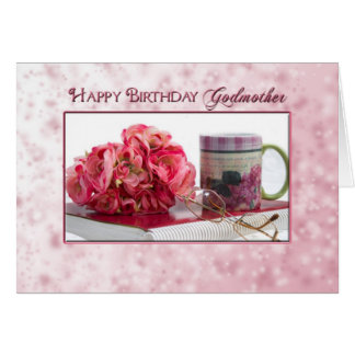 Cumpleaños - madrina - rosas rosados/taza tarjeton