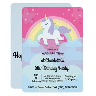 Cumpleaños mágico personalizado del unicornio con invitación 12,7 x 17,8 cm