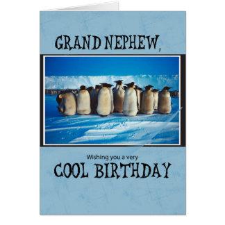 Cumpleaños magnífico del sobrino, pingüinos tarjeta de felicitación