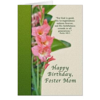 Cumpleaños, mamá adoptiva, gladiolo rosado, tarjet tarjeta de felicitación