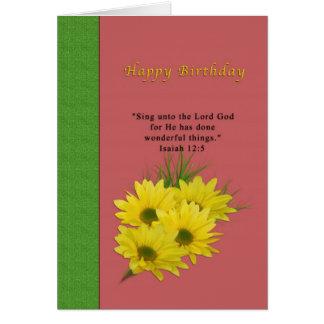 Cumpleaños, margaritas amarillas, religiosas tarjeta