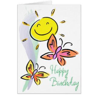 Cumpleaños-Mariposas y sol Felicitación