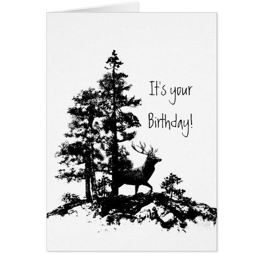 Cumpleaños masculino animal del bosque del árbol tarjeta pequeña