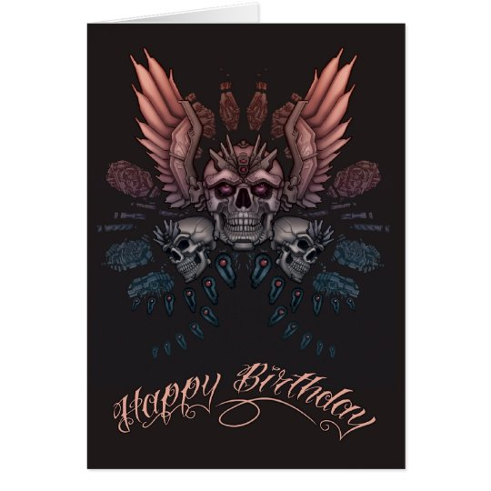 Cumpleaños mecánico del cráneo tarjeta de felicitación